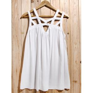 Cute White Cut Out Sleeveless Pleated Mini Dress For Women