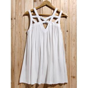 Cute White Cut Out Sleeveless Pleated Mini Dress For Women - WHITE S
