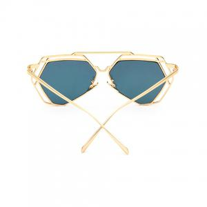 Chic Hollow Metal Golden Polygonal Frame Sunglasses For Women -