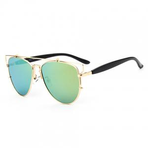 Chic Metal Bar Embellished Golden Frame Sunglasses For Women -
