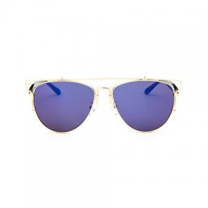 Chic Metal Bar Embellished Golden Frame Sunglasses For Women