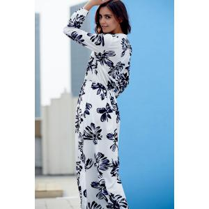 Stylish Round Neck Long Sleeve Loose Floral Print Women's Dress -