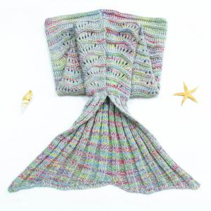 Cute Hollow Out Colorful Knitted Mermaid Blanket For kids -