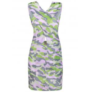 Stylish Buttons Embellished Sleeveless Pink Camo Bodycon Dress For Women