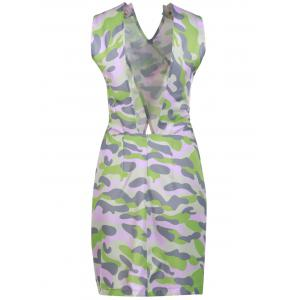 Stylish Buttons Embellished Sleeveless Pink Camo Bodycon Dress For Women - ACU CAMOUFLAGE S