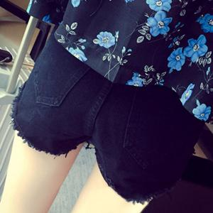 Stylish Buttoned Denim Shorts For Women -