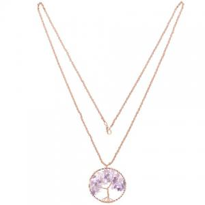 Natural Stone Life Tree Round Pendant Necklace -