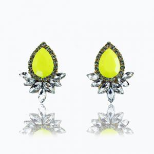 Faux Gemstone Crystal Flower Shape Earrings - Yellow