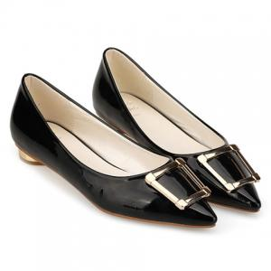 Trendy Patent Leather and Metal Design Flat Shoes For Women -
