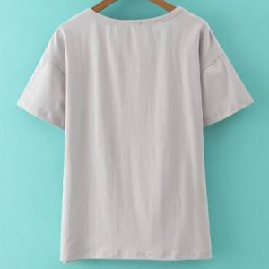 Trendy Cut Out Jewel Neck Solid Color Pullover T-Shirt For Women -