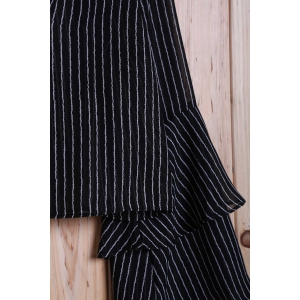 Fashion Striped Tiered Ruffle Sleeve Women's Crop Top - BLACK L