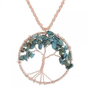 Faux Turquoise Life Tree Hollow Out Pendant Necklace
