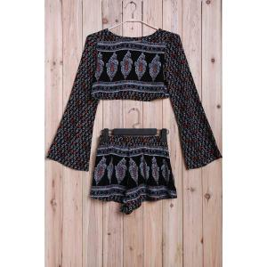 Trendy Printed Long Sleeve Crop Top + Shorts Women's Twinset -