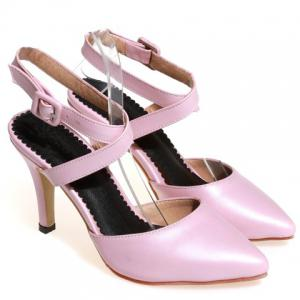 Elegant PU Leather and Cross Straps Design Sandals For Women -