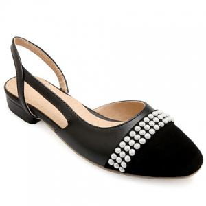 Sweet Black Color and Square Toe Design Flat Shoes For Women