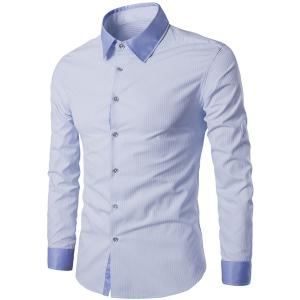 Modish Turn-Down Collar Color Block Splicing Long Sleeve Men's Shirt