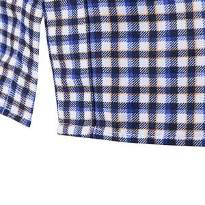 Modish Turn-Down Collar Plaid Print Tiny Skulls Pattern  Long Sleeve Men's Shirt - BLUE 2XL