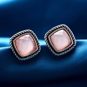 Pair of Square Faux Gemstone Ear Cuffs - PINK
