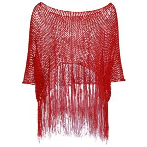 Bohemian Scoop Neck Openwork Fringed Cover-Up Top For Women -