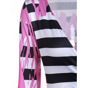 Sexy Plunging Neck 3/4 Sleeve Printed Maxi Dress For Women - ROSE S
