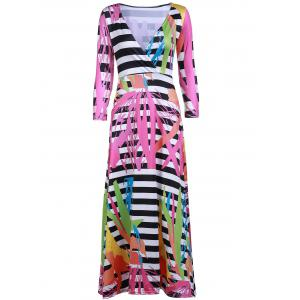 Sexy Plunging Neck 3/4 Sleeve Printed Maxi Dress For Women