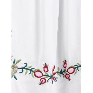 Ethnic Style V-Neck Embroidered Button Design Women's Dress -