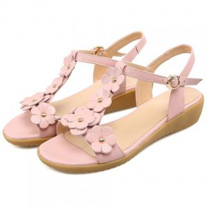 Sweet Floral and T-Strap Design Sandals For Women -