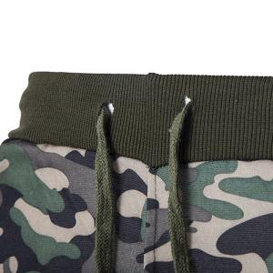 Beam Feet Camo Print Rib Splicing Drawstring Men's Pants - CAMOUFLAGE M
