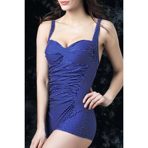 Graceful Sweatheart Neck Polka Dot Ruched Push Up Swimwear For Women -