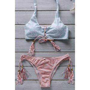 Halter Lace Up Flower Print Bathing Suit - Pink - M