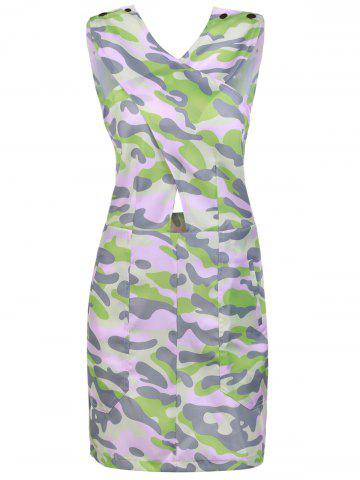 Fancy Stylish Buttons Embellished Sleeveless Pink Camo Bodycon Dress For Women ACU CAMOUFLAGE S
