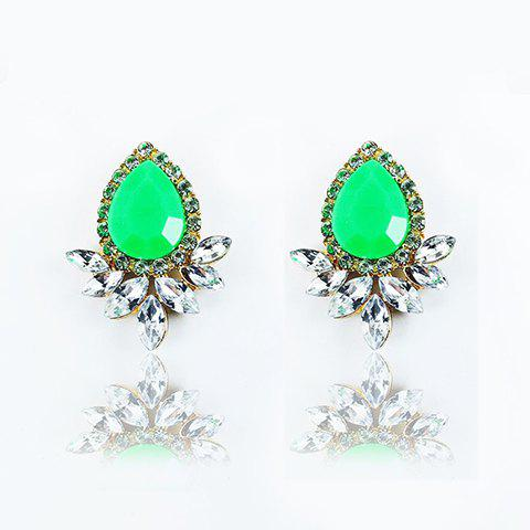 Hot Faux Gemstone Crystal Flower Shape Earrings - GREEN  Mobile