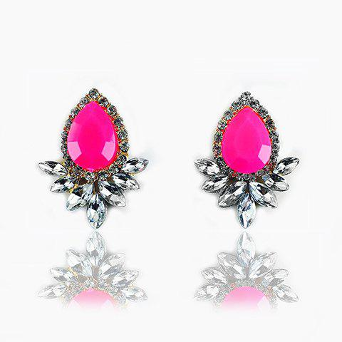 Cheap Faux Gemstone Crystal Flower Shape Earrings ROSE