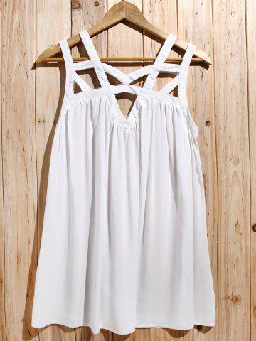 New Cute White Cut Out Sleeveless Pleated Mini Dress For Women WHITE S