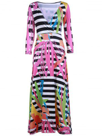 Hot Sexy Plunging Neck 3/4 Sleeve Printed Maxi Dress For Women ROSE S