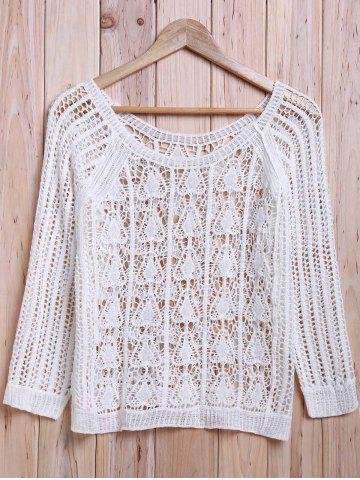 Affordable Sexy Scoop Neck 3/4 Sleeve Hollow Out White Cover-Up For Women