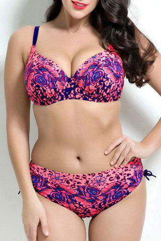 Cheap Stylish Spaghetti Strap Plus Size Floral Print Push Up Underwire Bikini Set For Women