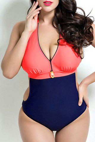 Stylish Halter Neck Plus Size Color Block Push Up Swimwear For Women - RED 5XL