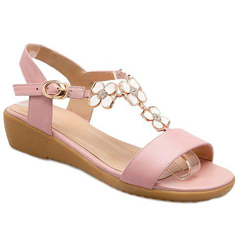 Fashion Flowers T Strap Wedge Sandals PINK 38