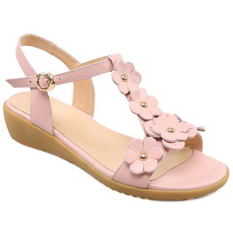 Trendy Sweet Floral and T-Strap Design Sandals For Women