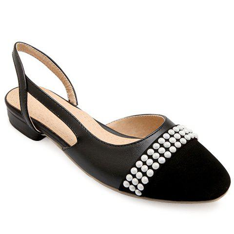 Latest Sweet Black Color and Square Toe Design Flat Shoes For Women - 39 BLACK Mobile