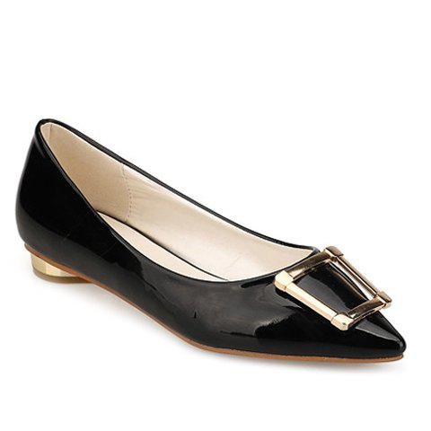 Fashion Trendy Patent Leather and Metal Design Flat Shoes For Women