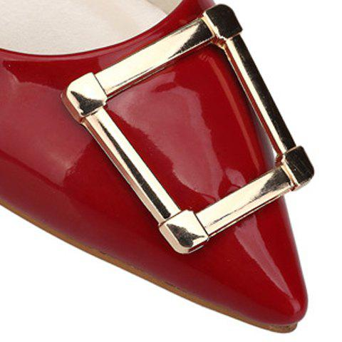 Shop Trendy Patent Leather and Metal Design Flat Shoes For Women - 39 RED Mobile
