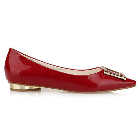 Chic Trendy Patent Leather and Metal Design Flat Shoes For Women - 39 RED Mobile