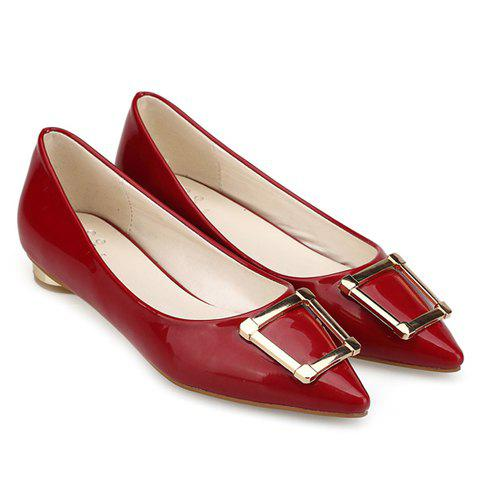 Outfit Trendy Patent Leather and Metal Design Flat Shoes For Women - 39 RED Mobile