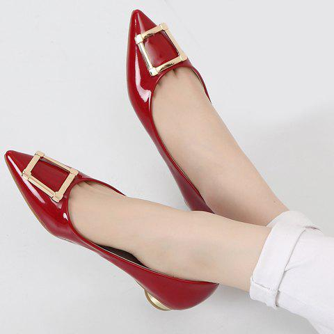 Cheap Trendy Patent Leather and Metal Design Flat Shoes For Women - 39 RED Mobile