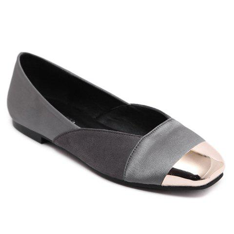 Cheap Simple Splicing and Metal Toe Design Flat Shoes For Women GRAY 36