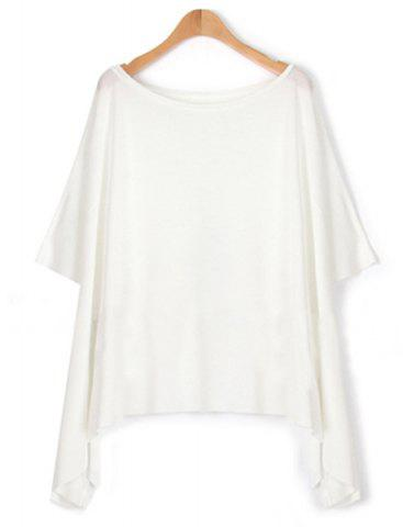 Store Stylish Half Sleeves Scoop Neck Asymetric Hem Women's T-Shirt