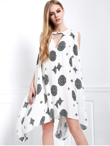 Outfits Casual Keyhole Neck Sleeveless Coin Print Asymmetrical Dress For Women