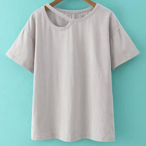 Sale Trendy Cut Out Jewel Neck Solid Color Pullover T-Shirt For Women